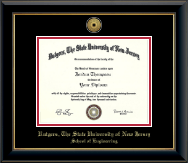 Rutgers University, The State University of New Jersey Diploma Frame - Gold Engraved Medallion Diploma Frame in Onyx Gold
