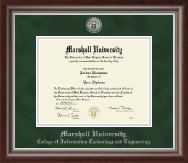 Marshall University Diploma Frame - Silver Engraved Medallion Diploma Frame in Devonshire