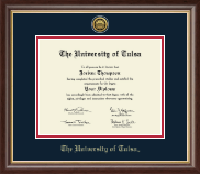 The University of Tulsa Diploma Frame - Gold Engraved Medallion Diploma Frame in Hampshire