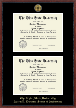The Ohio State University Diploma Frame - Gold Engraved Medallion Double Diploma Frame in Signet