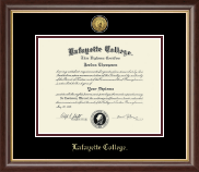 Lafayette College Diploma Frame - Gold Engraved Medallion Diploma Frame in Hampshire
