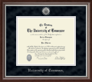 The University of Tennessee Knoxville Diploma Frame - Silver Engraved Medallion Diploma Frame in Devonshire