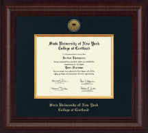 State University of New York Cortland Diploma Frame - Presidential Gold Engraved Diploma Frame in Premier
