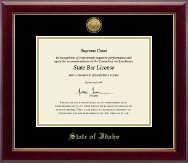 State of Idaho Certificate Frame - Gold Engraved Medallion Certificate Frame in Gallery
