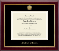 State of Illinois Certificate Frame - Gold Engraved Medallion Certificate Frame in Gallery