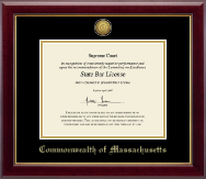 Commonwealth of Massachusetts Certificate Frame - Gold Engraved Medallion Certificate Frame in Gallery