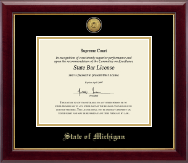 State of Michigan Certificate Frame - Gold Engraved Medallion Certificate Frame in Gallery