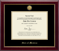 State of Montana Certificate Frame - Gold Engraved Medallion Certificate Frame in Gallery