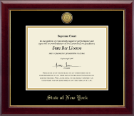 State of New York Certificate Frame - Gold Engraved Medallion Certificate Frame in Gallery