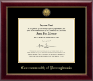 Commonwealth of Pennsylvania Certificate Frame - Gold Engraved Medallion Certificate Frame in Gallery