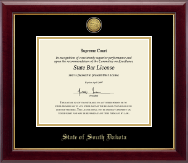 State of South Dakota Certificate Frame - Gold Engraved Medallion Certificate Frame in Gallery
