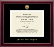 State of West Virginia Certificate Frame - Gold Engraved Medallion Certificate Frame in Gallery