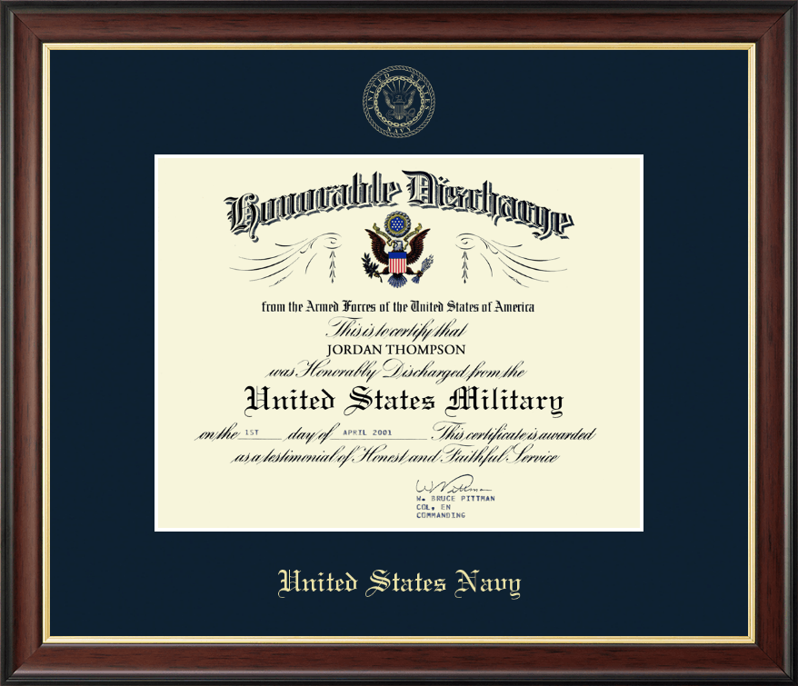 United States Navy Us Navy Honorable Discharge Certificate