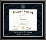 University of Connecticut Diploma Frame - Silver Embossed Diploma Frame in Onyx Silver