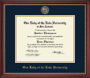 Our Lady of the Lake University Diploma Frame - Masterpiece Medallion Diploma Frame in Kensington Gold