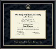 Our Lady of the Lake University Diploma Frame - Gold Embossed Diploma Frame in Onyx Gold