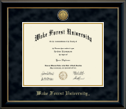 Wake Forest University Diploma Frame - Gold Engraved Medallion Diploma Frame in Onyx Gold