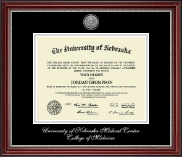 University of Nebraska Medical Center Diploma Frame - Silver Engraved Medallion Diploma Frame in Kensington Silver