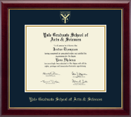 Yale University Diploma Frame - Gold Embossed Diploma Frame - Grad School of Arts & Sciences in Gallery