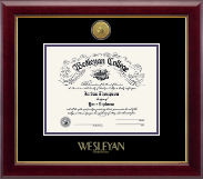 Wesleyan College Georgia Diploma Frame - Gold Engraved Medallion Diploma Frame - First for Women in Gallery