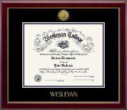 Wesleyan College Georgia Diploma Frame - Gold Engraved Medallion Diploma Frame in Gallery