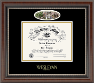 Wesleyan College Georgia Diploma Frame - Campus Cameo Diploma Frame in Chateau