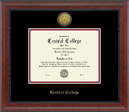 Central College Diploma Frame - Gold Engraved Medallion Diploma Frame in Signature