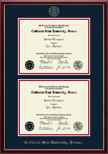 California State University Fresno Diploma Frame - Gold Embossed Double Diploma Frame in Galleria