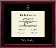 Wofford College Diploma Frame - Gold Embossed Edition Diploma Frame in Gallery