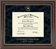 University of Wisconsin-Milwaukee Diploma Frame - Gold Embossed Diploma Frame in Chateau