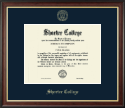 Shorter College Diploma Frame - Gold Embossed Diploma Frame in Studio Gold