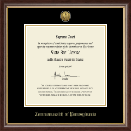 Widener University School of Law Certificate Frame - Gold Engraved Commonwealth of Pennsylvania Certificate Frame in Hampshire