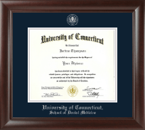 University of Connecticut Diploma Frame - Silver Embossed Diploma Frame in Rainier