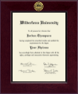 Wilberforce University Diploma Frame - Century Gold Engraved Diploma Frame in Cordova