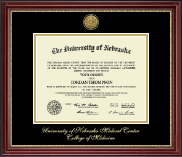 University of Nebraska Medical Center Diploma Frame - Gold Engraved Medallion Diploma Frame in Kensington Gold