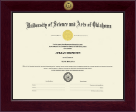 University of Science and Arts of Oklahoma Diploma Frame - Century Gold Engraved Diploma Frame in Cordova