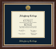 Allegheny College Diploma Frame - Gold Engraved Medallion Diploma Frame in Hampshire