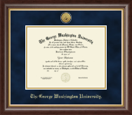 The George Washington University Diploma Frame - Gold Engraved Medallion Diploma Frame in Hampshire
