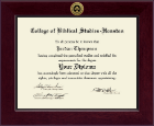 College of Biblical Studies - Houston Diploma Frame - Century Gold Engraved Diploma Frame in Cordova