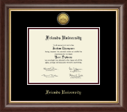 Friends University Diploma Frame - Gold Engraved Medallion Diploma Frame in Hampshire