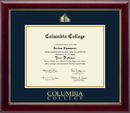 Columbia College Diploma Frame - Gold Embossed Diploma Frame in Gallery