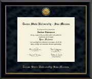 Texas State University San Marcos Diploma Frame - Gold Engraved Medallion Diploma Frame in Onyx Gold
