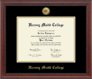 Harvey Mudd College Diploma Frame - Gold Engraved Medallion Diploma Frame in Signature