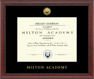 Milton Academy Diploma Frame - Gold Engraved Medallion Diploma Frame in Signature