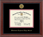 Westwood Regional High School Diploma Frame - Gold Engraved Medallion Diploma Frame in Signature