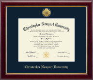 Christopher Newport University Diploma Frame - Gold Engraved Medallion Diploma Frame in Gallery