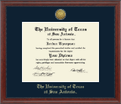 The University of Texas San Antonio Diploma Frame - Gold Engraved Medallion Diploma Frame in Signature