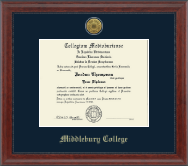 Middlebury College Diploma Frame - Gold Engraved Medallion Diploma Frame in Signature
