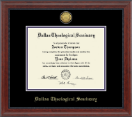 Dallas Theological Seminary Diploma Frame - Gold Engraved Medallion Diploma Frame in Signature