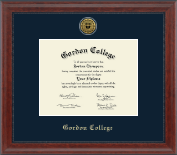 Gordon College in Massachusetts Diploma Frame - Gold Engraved Medallion Diploma Frame in Signature